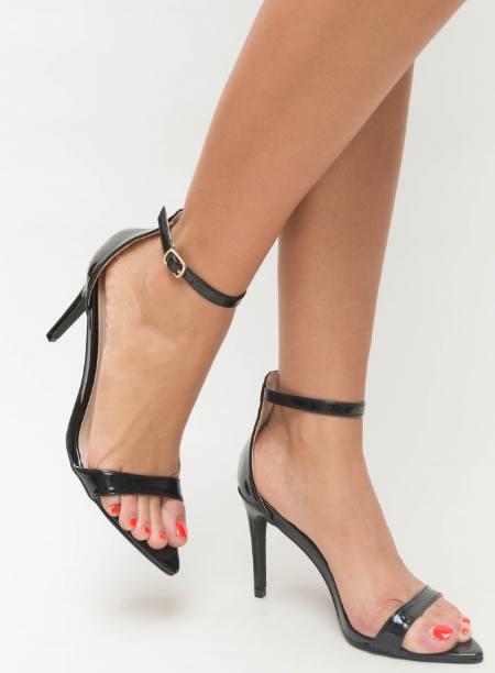 Sandale elegante cu toc cui si varf ascutit. Model cu