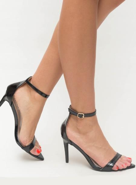 Sandale elegante cu toc inalt si barete subtiri cu catarame