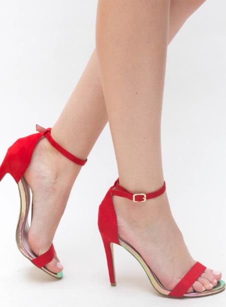 Sandale Rosii Cu Toc