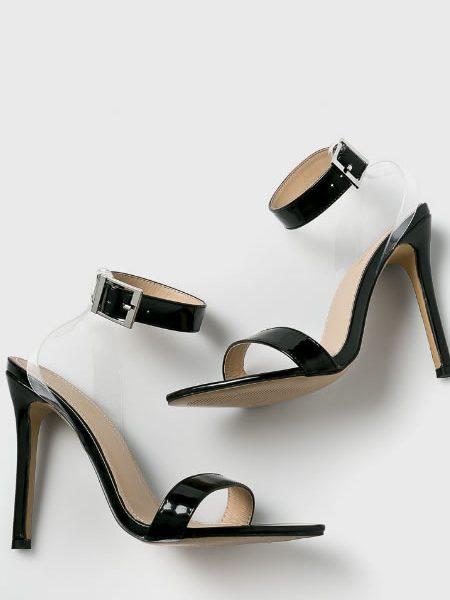 Sandale Transparente Cu Toc Cui Negre