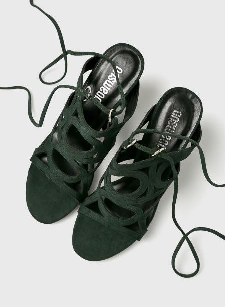 Sandale Verzi Cu Siret Pe Picior