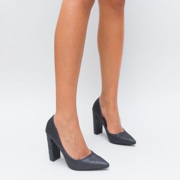 Pantofi Cu Toc Gros Cu Sclipici
