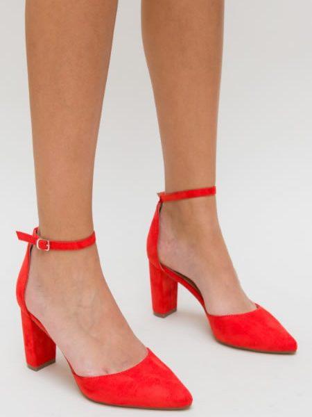 Pantofi Cu Toc Gros Si Bareta In Jurul Gleznei